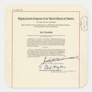 24ta constitución de los E.E.U.U. de la enmienda Calcomanías Cuadradass