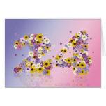 24ta tarjeta de cumpleaños con las letras floridas