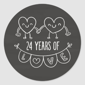 24th Anniversary Gift Chalk Hearts Classic Round Sticker