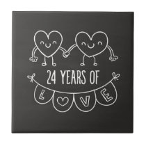 24th Anniversary Gift Chalk Hearts Tile