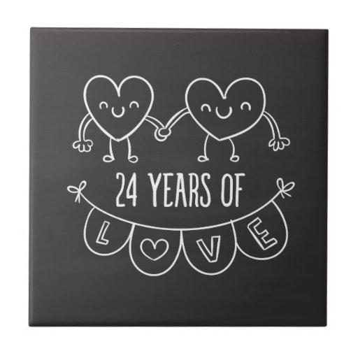 24th Anniversary Gift Chalk Hearts Tile Zazzle