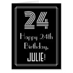 "[ Thumbnail: 24th Birthday — Art Deco Inspired Look ""24"" + Name Card ]"