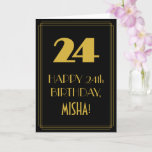 "[ Thumbnail: 24th Birthday ~ Art Deco Inspired Look ""24"" & Name Card ]"