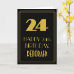 "[ Thumbnail: 24th Birthday – Art Deco Inspired Look ""24"" & Name Card ]"