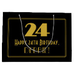 "[ Thumbnail: 24th Birthday — Art Deco Inspired Look ""24"" & Name Gift Bag ]"