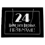 "[ Thumbnail: 24th Birthday: Art Deco Inspired Style ""24"", Name Gift Bag ]"