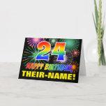[ Thumbnail: 24th Birthday: Bold, Fun, Fireworks, Rainbow 24 Card ]