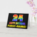 [ Thumbnail: 24th Birthday: Bold, Fun, Simple, Rainbow 24 Card ]