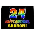 [ Thumbnail: 24th Birthday: Bold, Fun, Simple, Rainbow 24 Gift Bag ]