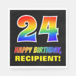 [ Thumbnail: 24th Birthday: Bold, Fun, Simple, Rainbow 24 Napkins ]