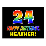 [ Thumbnail: 24th Birthday: Bold, Fun, Simple, Rainbow 24 Postcard ]