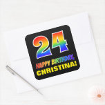 [ Thumbnail: 24th Birthday: Bold, Fun, Simple, Rainbow 24 Sticker ]