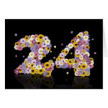 24th birthday card with flowery letters