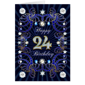 24th birthday card with masses of jewels
