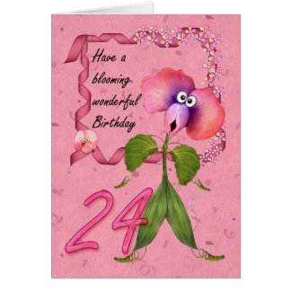 24th Birthday Card with Moonies cute bloomers,
