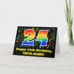 [ Thumbnail: 24th Birthday: Colorful Music Symbols & Rainbow 24 Card ]