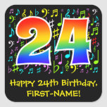 [ Thumbnail: 24th Birthday: Colorful Music Symbols, Rainbow 24 Sticker ]