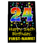 [ Thumbnail: 24th Birthday: Colorful Stars Pattern & Rainbow 24 Gift Bag ]