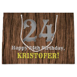 [ Thumbnail: 24th Birthday: Country Western Inspired Look, Name Gift Bag ]