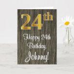 [ Thumbnail: 24th Birthday: Elegant Faux Gold Look #, Faux Wood Card ]
