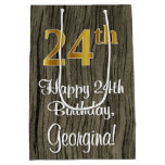 [ Thumbnail: 24th Birthday: Elegant Faux Gold Look #, Faux Wood Gift Bag ]