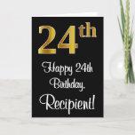 [ Thumbnail: 24th Birthday ~ Elegant Luxurious Faux Gold Look # Card ]