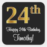 [ Thumbnail: 24th Birthday – Elegant Luxurious Faux Gold Look # Sticker ]
