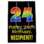 "[ Thumbnail: 24th Birthday: Fun, Bold, Colorful, Rainbow ""24"" Gift Bag ]"