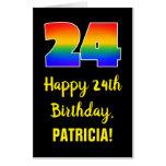 [ Thumbnail: 24th Birthday: Fun, Colorful, Happy, Rainbow # 24 Card ]