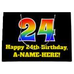 [ Thumbnail: 24th Birthday ~ Fun, Colorful, Vibrant, Rainbow 24 Gift Bag ]