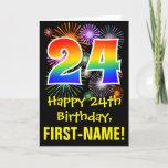[ Thumbnail: 24th Birthday: Fun Fireworks Pattern + Rainbow 24 Card ]
