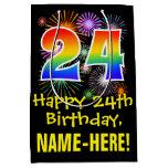 [ Thumbnail: 24th Birthday: Fun Fireworks Pattern + Rainbow 24 Gift Bag ]