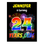"[ Thumbnail: 24th Birthday - Fun Fireworks, Rainbow Look ""24"" Postcard ]"
