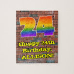 [ Thumbnail: 24th Birthday: Fun Graffiti-Inspired Rainbow 24 Jigsaw Puzzle ]