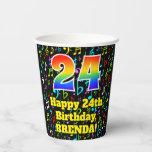 [ Thumbnail: 24th Birthday: Fun Music Notes Pattern, Rainbow 24 ]