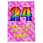 [ Thumbnail: 24th Birthday: Fun Pink Hearts Stripes; Rainbow 24 Gift Bag ]