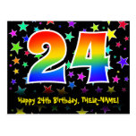 [ Thumbnail: 24th Birthday: Fun Stars Pattern, Rainbow 24, Name Postcard ]