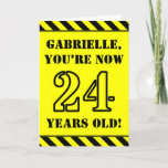 [ Thumbnail: 24th Birthday: Fun Stencil Style Text, Custom Name Card ]