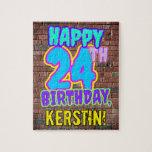 [ Thumbnail: 24th Birthday ~ Fun, Urban Graffiti Inspired Look Jigsaw Puzzle ]
