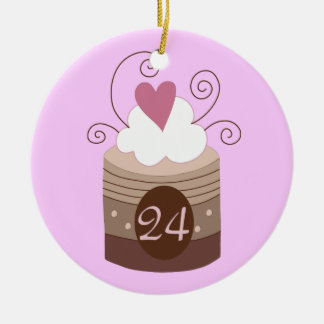 24th Birthday Gift Ideas For Her Double-Sided Ceramic Round Christmas Ornament