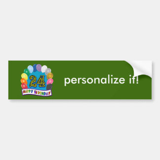 24th Birthday Gifts with Assorted Balloons Design Bumper Sticker