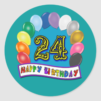 24th Birthday Gifts with Assorted Balloons Design Classic Round Sticker