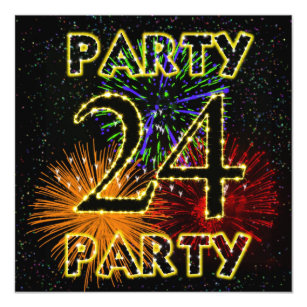 24th birthday party invitation with fireworks