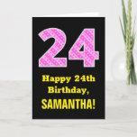 "[ Thumbnail: 24th Birthday: Pink Stripes and Hearts ""24"" + Name Card ]"