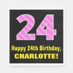 "[ Thumbnail: 24th Birthday: Pink Stripes and Hearts ""24"" + Name Napkins ]"