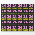 """[ Thumbnail: 24th Birthday: Pink Stripes and Hearts """"24"""" + Name Wrapping Paper ]"""