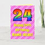 [ Thumbnail: 24th Birthday: Pink Stripes & Hearts, Rainbow # 24 Card ]