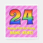 [ Thumbnail: 24th Birthday: Pink Stripes & Hearts, Rainbow # 24 Napkins ]