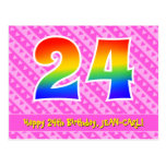 [ Thumbnail: 24th Birthday: Pink Stripes & Hearts, Rainbow 24 Postcard ]