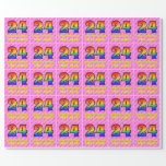 [ Thumbnail: 24th Birthday: Pink Stripes & Hearts, Rainbow # 24 Wrapping Paper ]